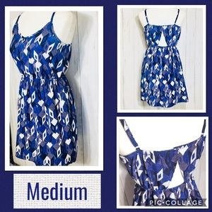Blue & White Geo Print Dress Keyhole Back